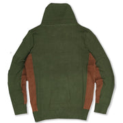 M5040 Shawl Collar Knit Sweater - Olive