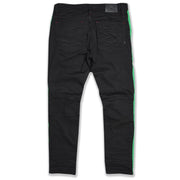 M1950 Makobi Biker Jeans w/ Nylon Stripes - Black