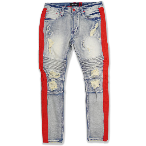 M1950 Makobi Biker Jeans w/ Nylon Stripes - Light Wash