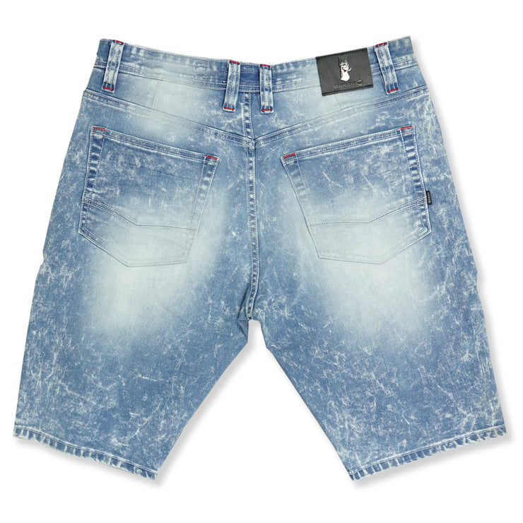 M650 WILLARD BIKER SHORTS W/ PAINT SPLASH - LIGHT WASH