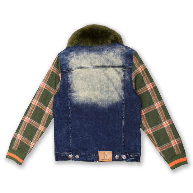 M1068 Makobi Denim And Plaid Biker Jacket - Dirt Wash
