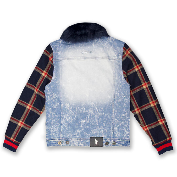 M1068 Makobi Denim And Plaid Biker Jacket - Light Wash