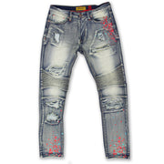 M1783 Makobi Cape Biker Jeans with Paint Splash - Dirt