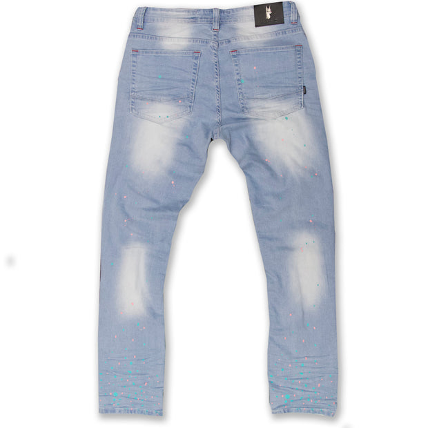 M1783 Makobi Cape Biker Jeans with Paint Splash - Light Wash