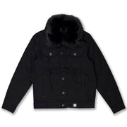 M1061 Makobi Doll Denim Jacket with Fur Collar - Black