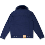 M1061 Makobi Doll Denim Jacket with Fur Collar - Navy