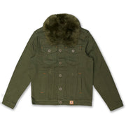 M1061 Makobi Doll Denim Jacket with Fur Collar - Olive