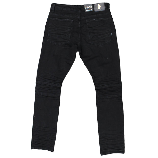 M1728 MAKOBI COATED DENIM PANTS - BLK - Jeans