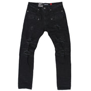 M1728 MAKOBI COATED DENIM PANTS - BLK