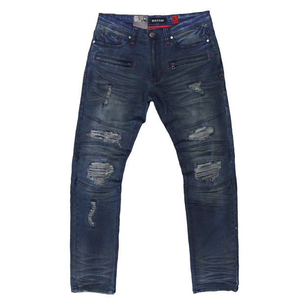 M1728 MAKOBI COATED DENIM PANTS - NAVY - Jeans