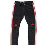 M1769 Makobi Cameo Denim Jeans - BLACK/RED
