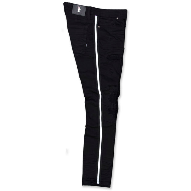 M1769 Makobi Cameo Denim Jeans - BLACK/WHITE