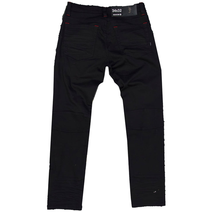 M1952 Makobi Fire Shredded Jeans - Black