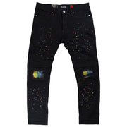 M1955 MAKOBI DENIM PANTS W/ UNDERLAY & PAINT SPOTS BLACK-BLACK
