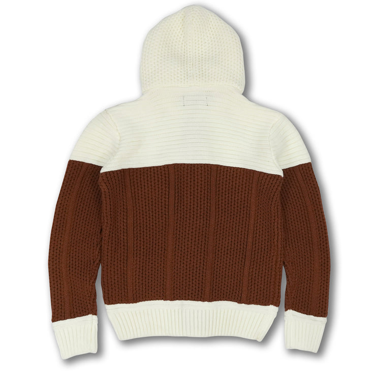 M4046 Makobi Heavy Gauge Contrast Sweater - Golden Brown/Natural