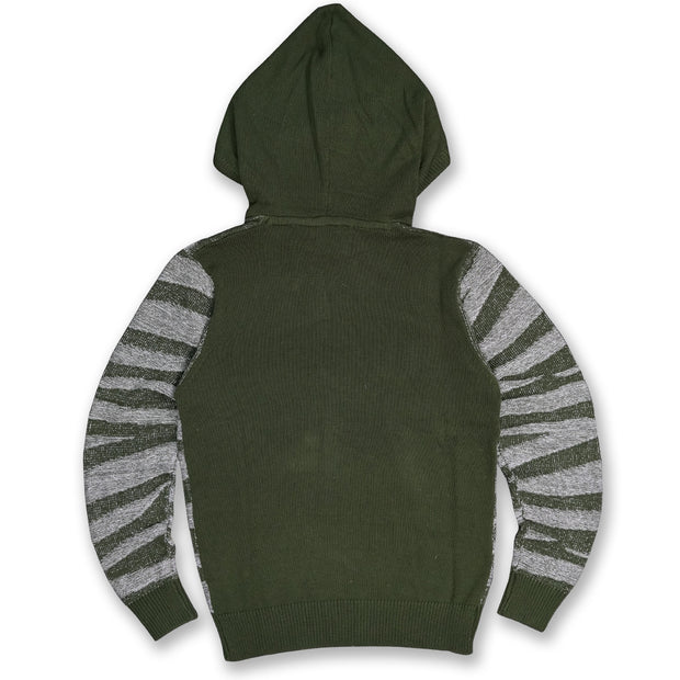 M5050 Tiger Knit Hoody Sweater - Olive