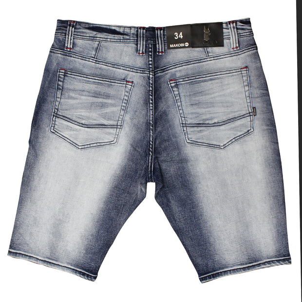 M748 MAKOBI HERMOSA SHREDDED SHORTS - DARK WASH - SHORTS