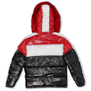 M7720 Malcom PU Coated Puffer Jacket - BLACK/RED