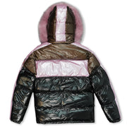 M7720 Malcom PU Coated Puffer Jacket - PINK/BROWN