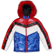 M7730 Michael PU Coated Puffer Jacket - Red/Royal