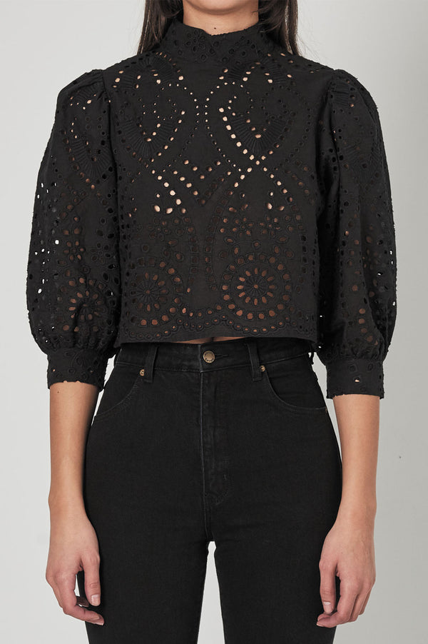 Rollas Ladies Stephanie Lace Blouse - Front