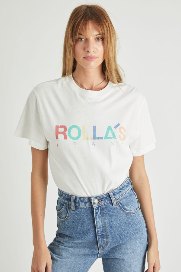 Rollas Ladies Tomboy Multi Logo Tee