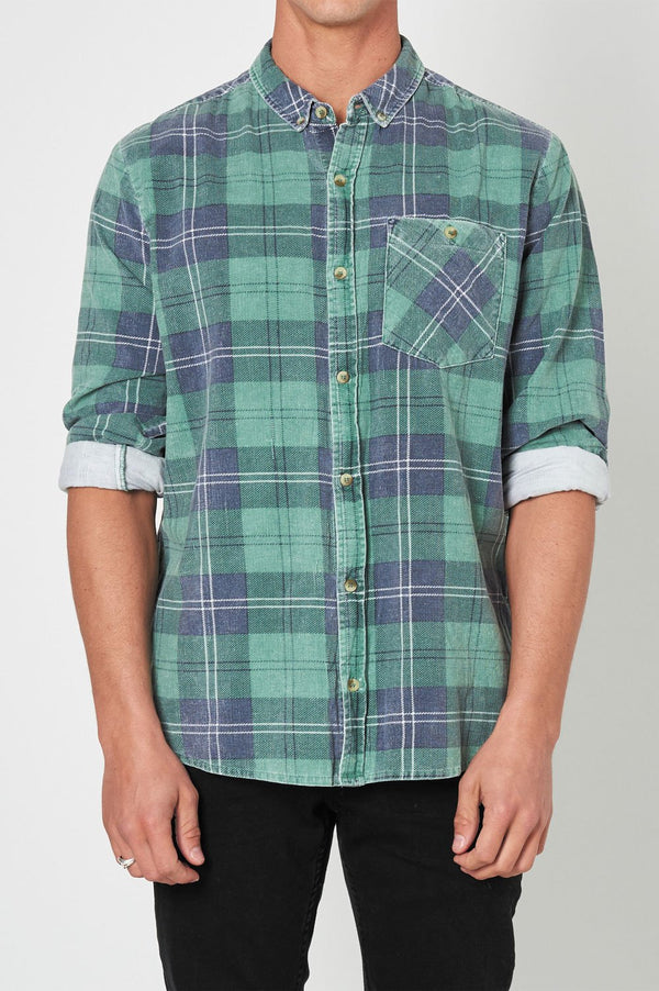 Rollas Mens Tradie Cord Check Shirt - Front