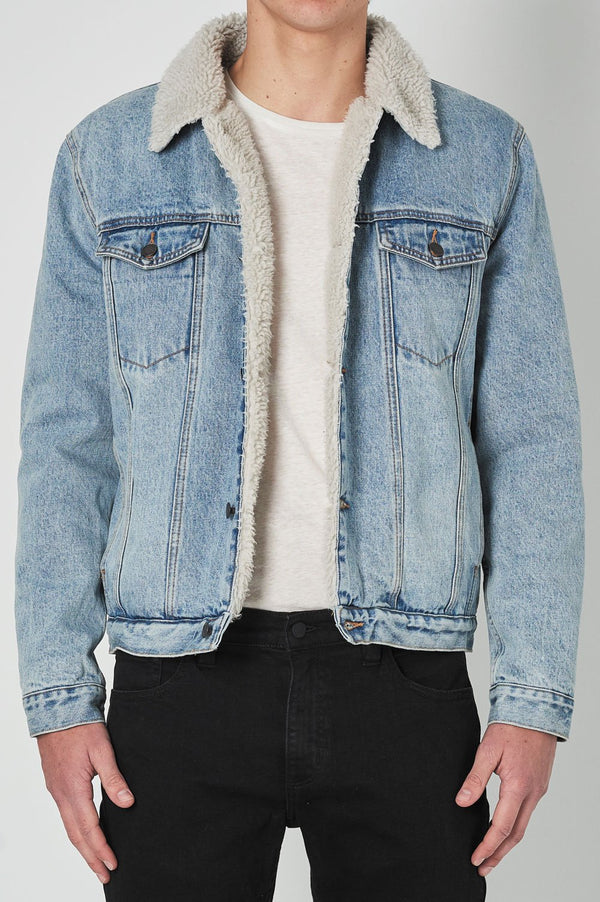 Rollas Mens Denim Sherpa Jacket - Front