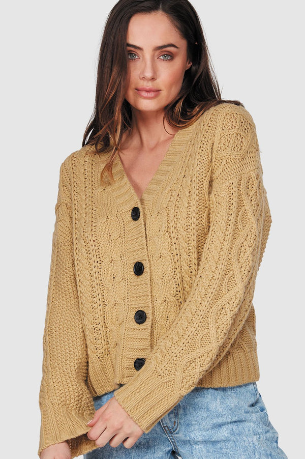 Billabong Ladies Pretty Cable Cardigan - Front