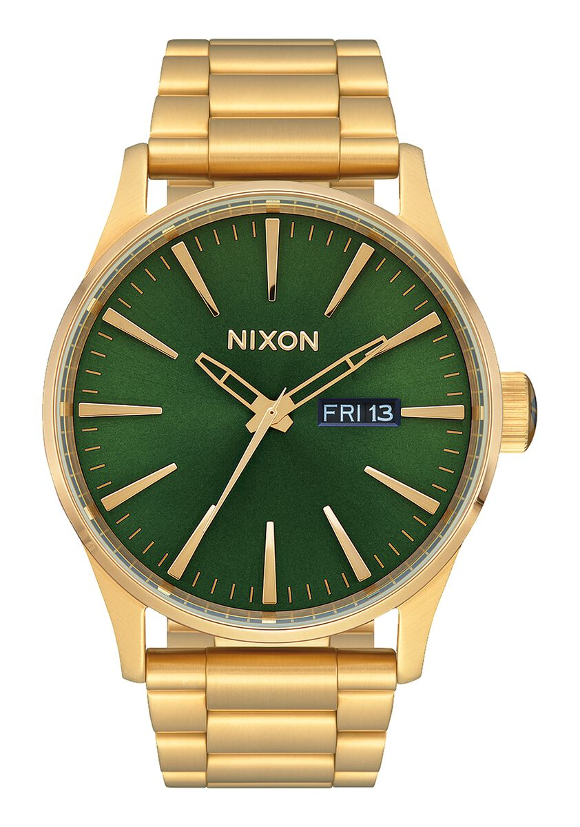 Nixon Sentry SS Watch - Gold/Green Sunray/HP
