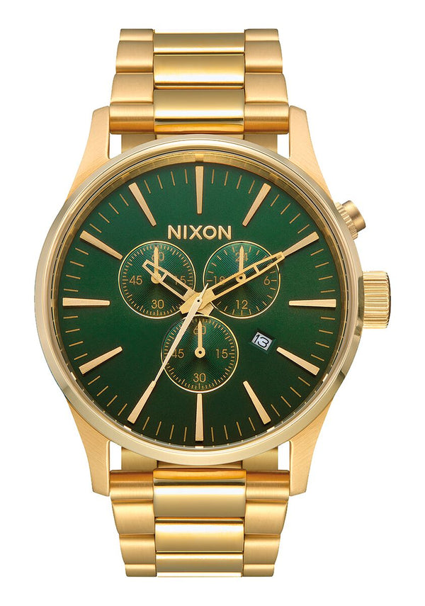 Nixon Sentry Chrono Watch - All Gold/Green Sunray