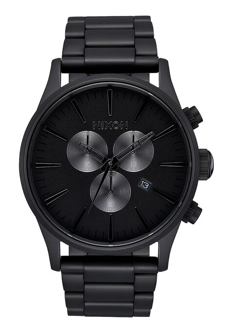 Nixon Sentry Chrono Watch - All Matte Black/Polished Black