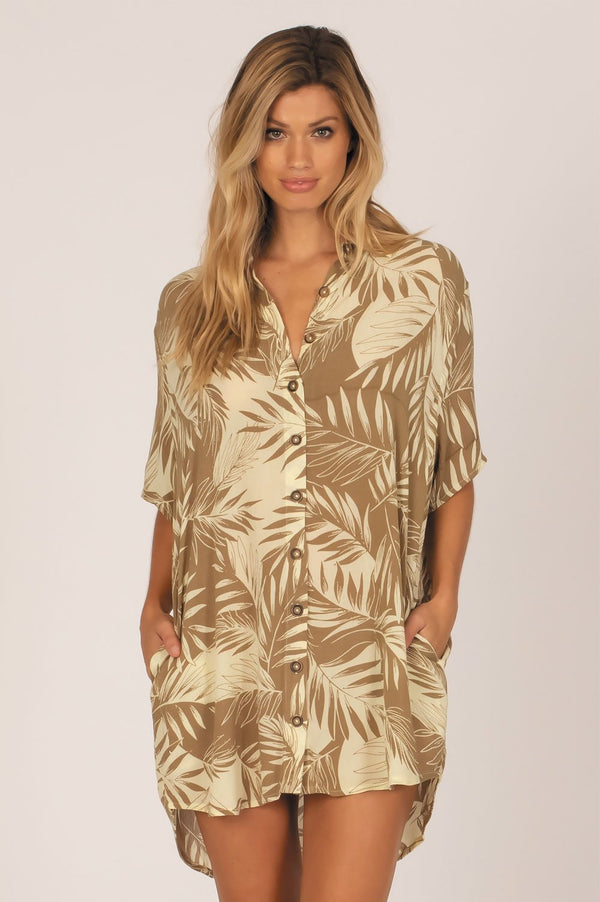 Amuse Society Ladies Shady Palms Dress - Front