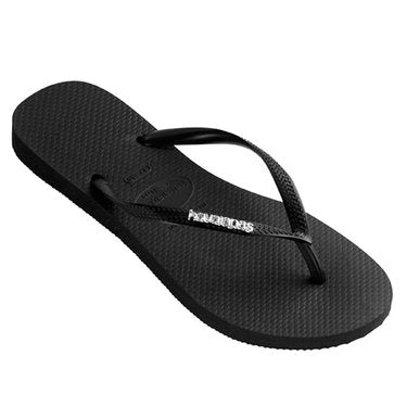Havaianas Slim Metal Logo Thongs- Black/Silver