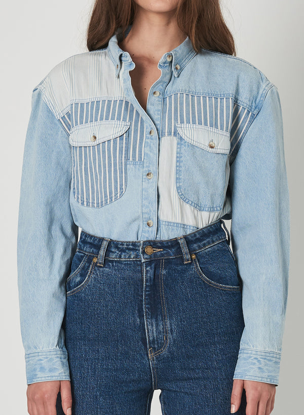 Rollas Ladies Patch Denim LS Shirt