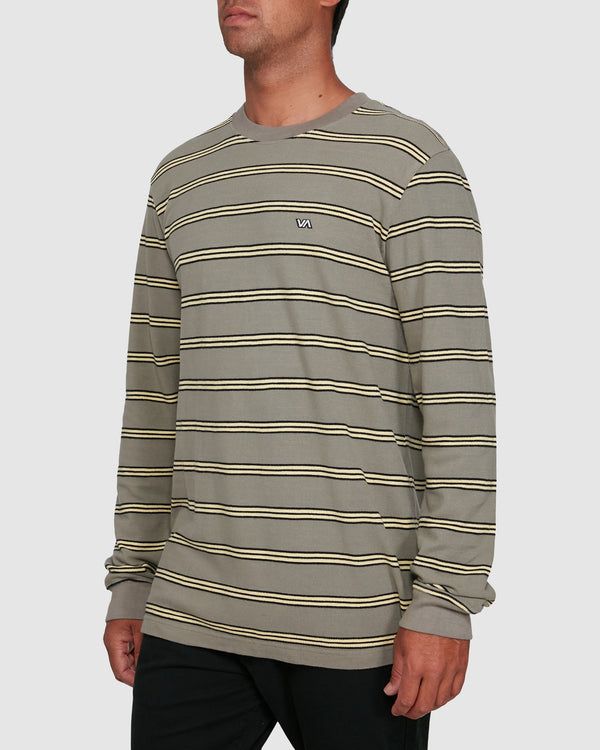 RVCA Mens Bloom Pique Stripe LS Tee