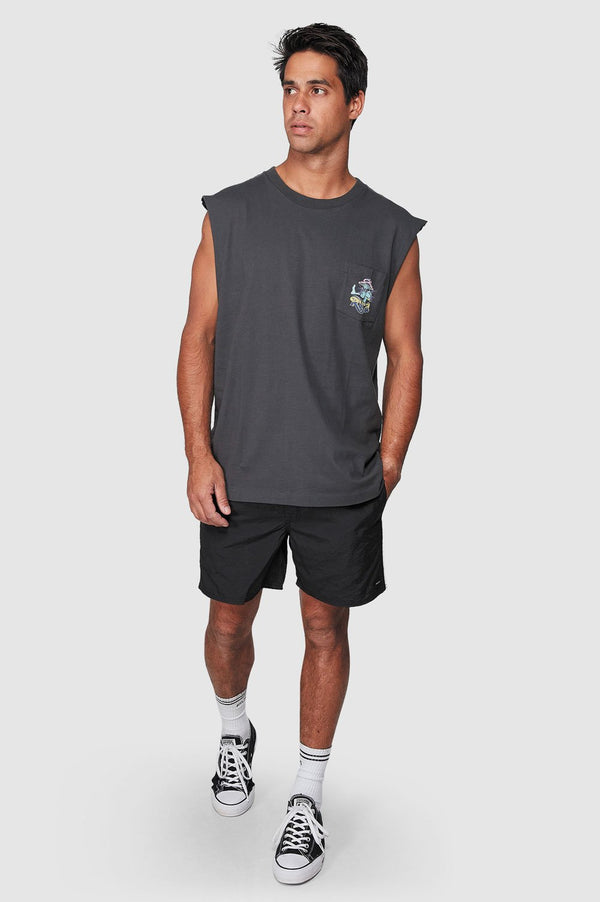 RVCA Mens Mushie Kids Pocket Muscle Tee - Full