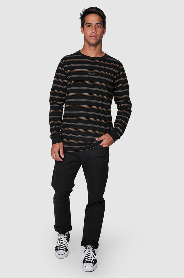 RVCA Mens Merc Stripe LS Tee - Full