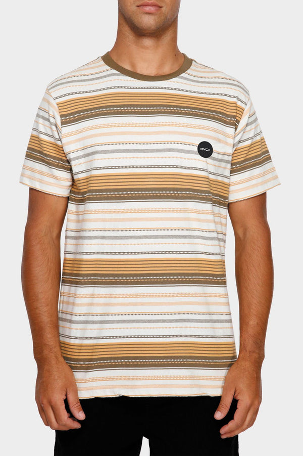 RVCA Mens Deadbeat Stripe SS Tee - Front
