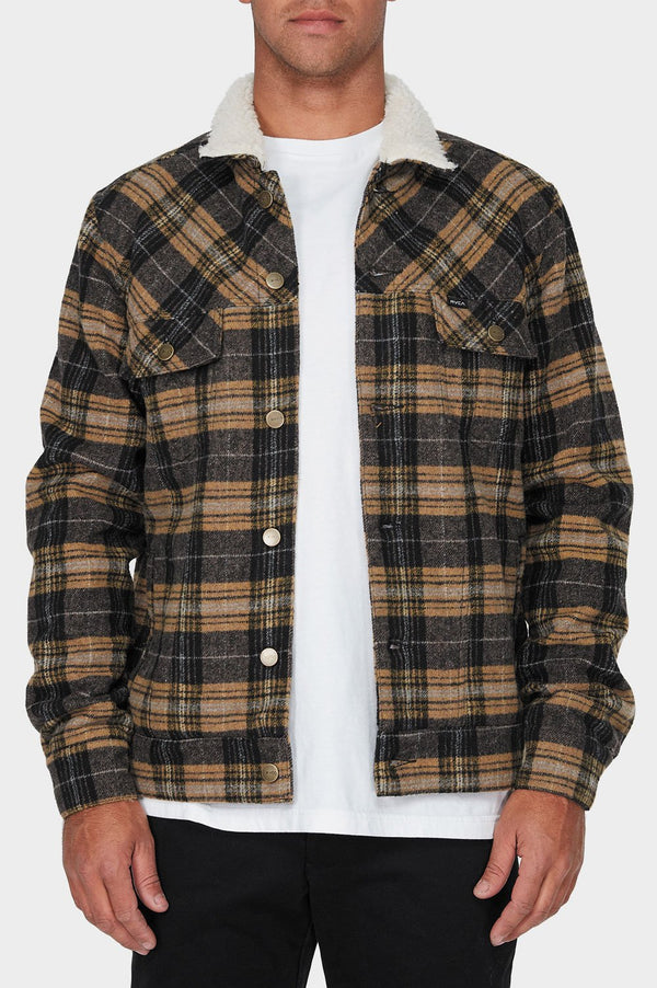 RVCA Daggers Plaid Sherpa Jacket - Front