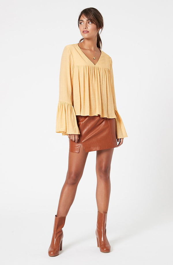 Mink Pink Ladies Jacqui Flare Sleeve Top