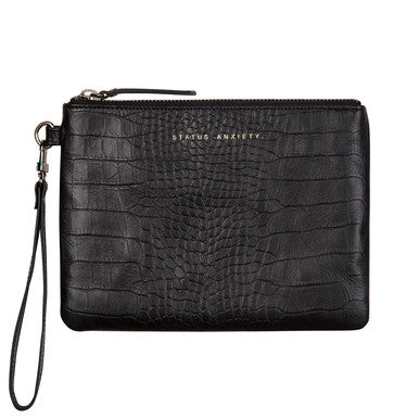 Status Anxiety Womens Fixation Clutch- Black Croc