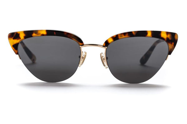 Sunday Somewhere Pixie Sunnies- Gloss Marble Tort/Polished Yellow Gold