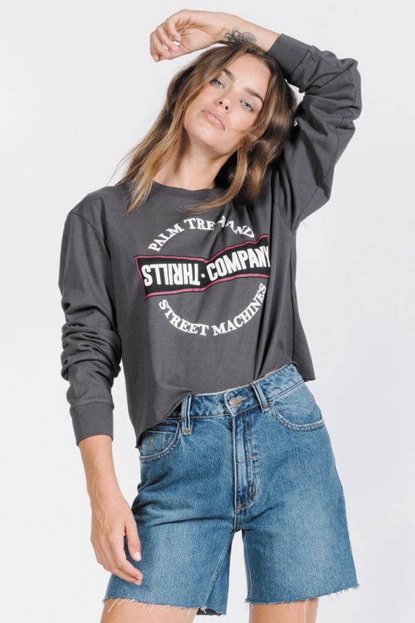 Thrills Ladies Speed Machine Crop LS Tee - Front
