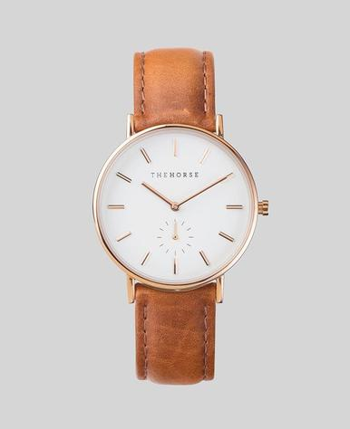 The Horse C Watch- Rose Gold/White/Tan