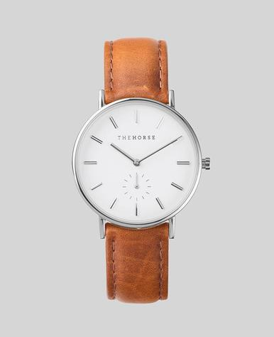 The Horse Classic Watch- Steel/White/Tan