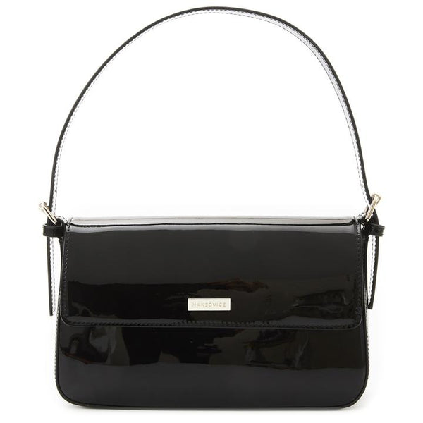Nakedvice The Silvie Baguette Bag - Black Patenet