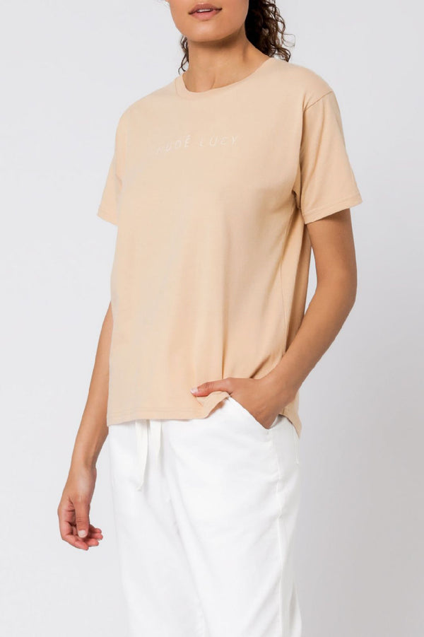 Nude Lucy Embr Slogan SS Tee