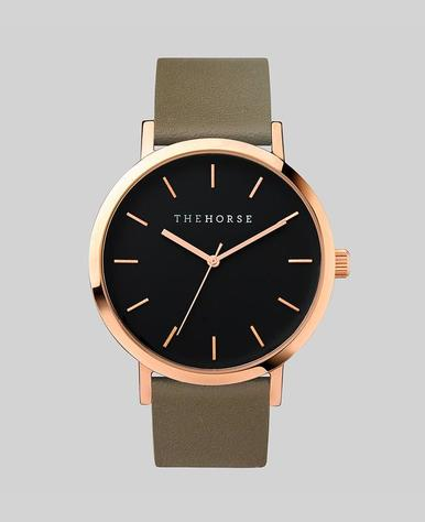 The Horse Original Watch- Rose Gold/Black/Olive