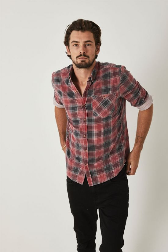 Rollas Mens Tradie Cord Check LS Shirt - Front